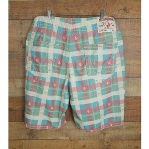 True Religion Mens Plaid Board Swim Shorts Size 38